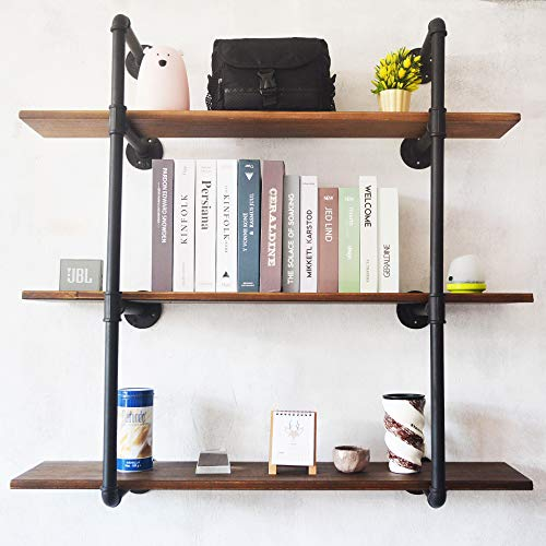 (Puncia 48in Pipe Solid Wood Heavy Duty Kitchen Book Wall Floating Shelves, Long Wall Wooden Kitchen Bookcase Shelf, Farmhouse Decor Display Shelf (48in8in0.8in3Tiers))