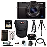 Sony Cyber-shot DSC-RX100M2/B RX100M2 RX100M II RX100MII 20.2MP Wi-Fi Digital Camera Bundle with Sony 32GB Memory Card + Wasabi Power Replacement Battery for Sony DSC-RX1 + Sony Black Carrying Case + Wrist Grip Strap + Camera Accessories