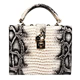 TOMSSL Women's Square Crocodile Snakeskin Handbags Box Type Shoulder Metal Chain Diagonal Bags Daily Pu Print Banquet Party Evening Bags Beautiful Atmosphere (Color : Multi-Colored)