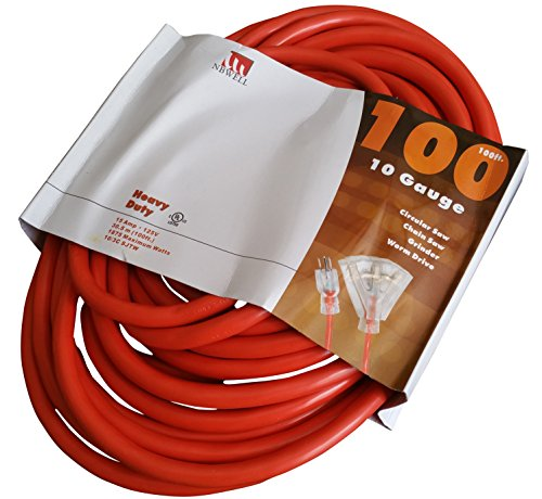 NBWELL 100 Ft 10 Gauge Triple-Tap Lighted Extension Cord 10/3