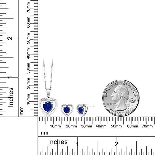 10K White Gold 1.95Ct Heart Blue Simulated Sapphire Diamond Pendant Earrings Set by Gem Stone King (Image #1)