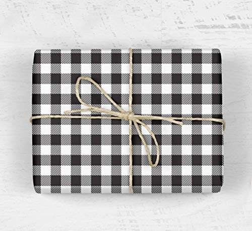 Classic Buffalo Plaid Gift Wrapping Paper - Black, White, Striped, Christmas, Hanukkah, Modern, Boy, Girl, Scrapbooking, Craft Paper from The Eclectic Chic Boutique