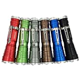 Superbright 6 Pack of Aluminum Cree Led Battery Powered Handheld Tactical Flashlight Torch with Pocket Clip 5 Mode Adjustable Focus Light Assorted Colors