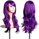 """EmaxDesign Wigs 70 cm / 28"""" ~ High-Quality Cosplay Wig For Women. Long, Full, Curly, Big Wavy, & Heat Resistant. Fashion Glamour Hairpiece with Free Wig Cap & Wig Comb (Color: Dark Purple)"""