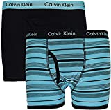 Calvin Klein Boy`s 2 Pack Boxer Briefs (X-Small/4-5, Team Orange (37D67132-C21) / Obsidian/Team Orange)