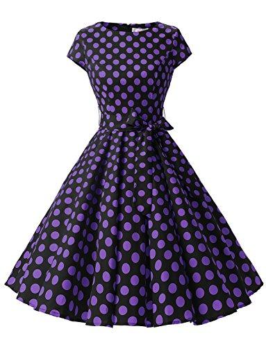Dressystar DS1956 Women Vintage 1950s Retro Rockabilly Prom Dresses Cap-Sleeve XXL Black Purple Dot B