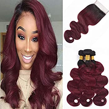 Image of ALI RAIN Ombre Brazilian Hair Bundles with Closure 10A Ombre Body Wave Bundles with Closure 3 Bundles with Closure Ombre Human Hair with Closure (20 22 24 + 18, T1B/99J) Health and Household
