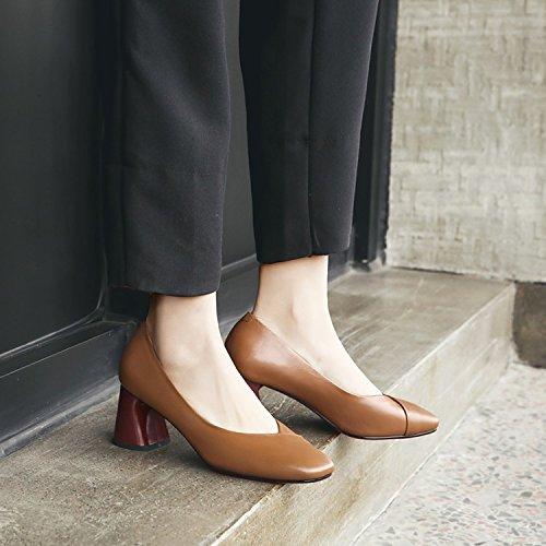 Transpirable 7 elegante tacon Treinta cabeza alto color de siete de mujer Zapatos 34 y cm caramelo boca tacon Moda superficial zapatos de duro AJUNR Zapatos cuadrada Sandalias 5T1EEq