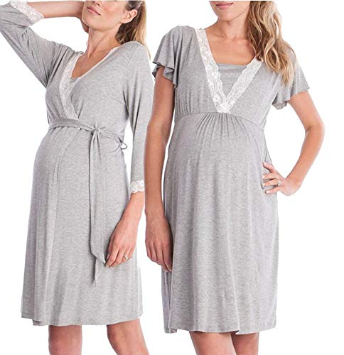 Robe Sets Nightgown - Nursing Nightgown and Robe Set for Hospital and Home- Soft Grey S