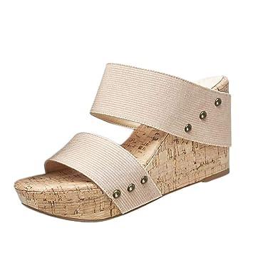 3f066d1e726eb0 Bluestercool Pantoufles D'été Femmes Rétro Respirant Sandales Compensées  Flats Chaussures Slip-On Romaines