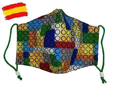 Mascarilla higiénica infantil homologada UNE 0065 niño 5-6-7 años con filtro fijo lavable_marca: Brissa España: Amazon.es: Handmade