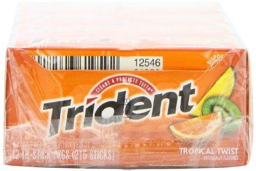 012546619592 - Trident Sugarless Gum, Tropical Twist, 18-Count Packages (Pack of 12) carousel main 6