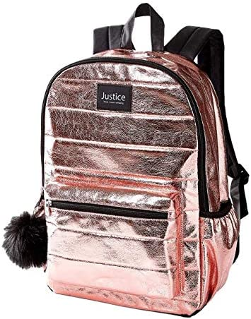Justice Rose Gold Quilted Backpack