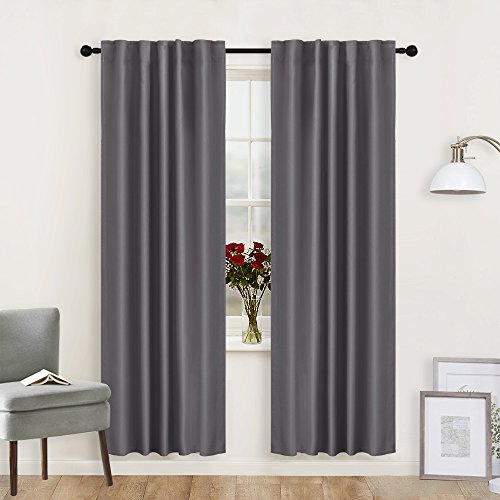"UPC 765470149764, Living Room Blackout Curtains Draperies Grey - RYB HOME ( 42"" Wide x 72"" Long, 2 Pieces ) Window Treatments Room Darkening Energy Saving Back Tab & Rod Pockets with 12 Loops"