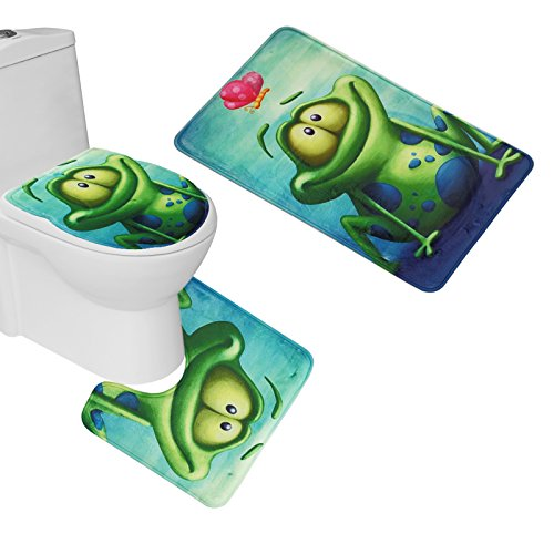 (Amagical 3 Piece Toilet Seat Cover and Rug Set Bathroom Pedestal Rug + Lid Toilet Cover + Bath Mat Frog and Lotus Flower)