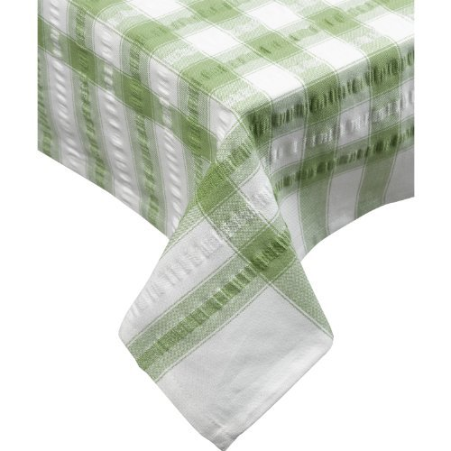 (Downview Seersucker Oblong Checked Tablecloth 50 x 70 Cotton Check Table Linen (Sage Green))