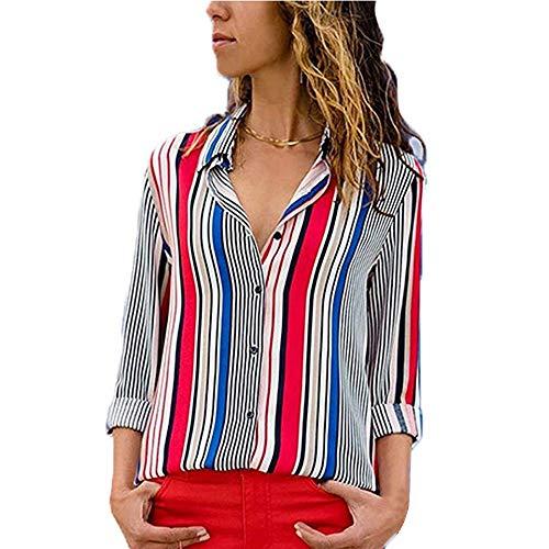 Imprim Casual T Blanc Femme Chemisier Manche Cou V Loose Top Ray Decha Blouse Chic Rouge et Chemise Longue Automne Shirt Printemps 6xORwqnT