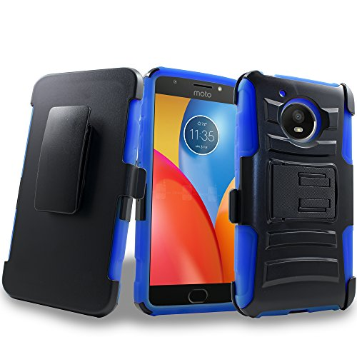 Moto E4 Case, 2017 Motorola Moto E4th Generation Holster Clip, Shock Absorbing Swivel Locking Belt Defender Heavy Full Body Kickstand CarryingArmor Cases Cover (Blue)]()