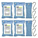 Bamboo Activated Charcoal Air Purifying Bags by Hello Freshies   6 Pack (4x 200g & 2x 75g Bags) Odor Eliminators, Deodorizer, Natural Air Freshener For Home, Cars, Pets, Closets, Hampers, Shoes & More