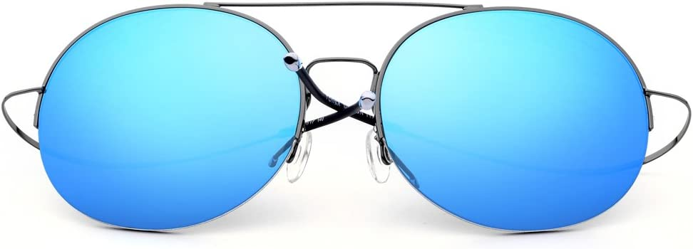 Gözəl Ultraléger Demi-Cadre Style Simple Lunettes de Soleil for Les Hommes pêcheuses Lunettes de Soleil (Color : Gun Frame+Green Lens) Gun Frame/Blue Lens