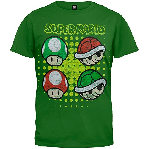 Shell Youth T-shirt (Nintendo - Boys Mushrooms And Turtle Shells Youth T-shirt Youth Large Green)
