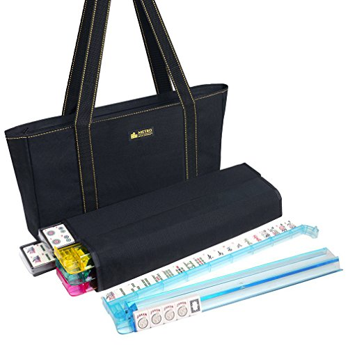 - American Mah Jongg Set - 166 Premium Ivory Tiles, 4 All-In-One Rack/Pushers, Black Canvas Bag