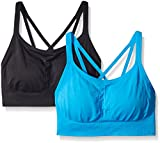 Spalding Women's Strappy Cami Seamless Bra in a Value, Metro Blue/Deep Black, Large (Pack of 2)