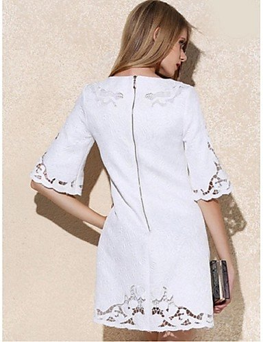PU&PU Robe Aux femmes Ample Street Chic,Couleur Pleine Col Arrondi Au dessus du genou Polyester , white-3xl , white-3xl