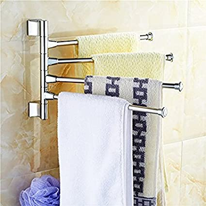 Handy 180 Degree 4 Arm Stainless Steel Towel Bar Rotating Towel Rack Bathroom Kitchen Towel Polished Holder