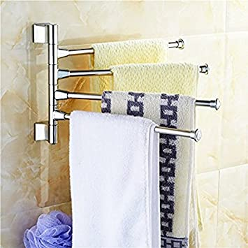 Handy 180 Degree 4 Arm Stainless Steel Towel Bar Rotating Towel Rack Bathroom Kitchen Towel Polished Holder Amazon In Home Improvement