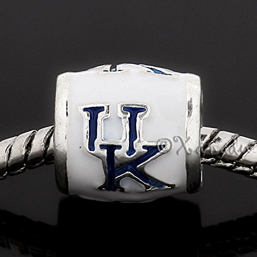 Logo Beads - University Of Kentucky Wildcats Football Logo European Bead For Charm Bracelets Jewelry Making Supply Pendant Bracelet DIY Crafting by Wholesale Charms