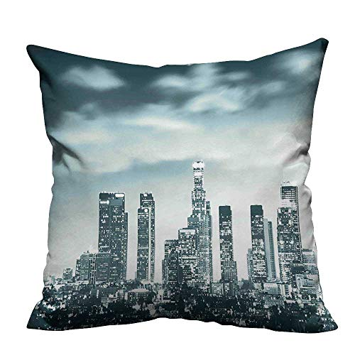 YouXianHome Decorative Throw Pillow Case Urban Theme Los Angeles Skyline at Night Skyscrapers and Lights Digital Art Print Ideal Decoration(Double-Sided Printing) 20x20 inch
