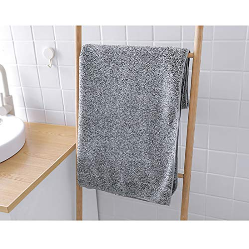 Bath Towel Bamboo Charcoal Fiber Coral Velvet Highly Absorbent and Fast Drying, Antibacterial and Odor Resistan for Home, Swimming Pool, Fitness, Travel, Super Soft Fiber Towel (59.06inX27.56in, Gray)