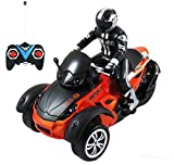 remote motorcycle - Haktoys HAK142 MotoHawk 1:10 Scale R/C ATV | Multi-Functional 3-wheeled Radio Control Ready-to-Run Car Motorcycle Road Racer with LED Headlights | Safe and Durable | Toy for Kids, Teens, and Adults
