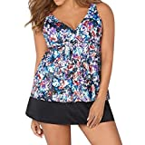 Plus Size Bikini Swimsuit, Women 3Pcs Floral Print Swimsuit Push Up Bikini Swimwear Bathing Monokini Suit (Multicolor, 4XL)