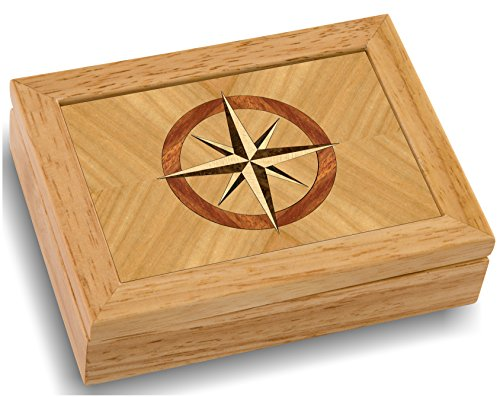 (MarqART Wood Art Compass Box - Handmade USA - Unmatched Quality - Unique, No Two are The Same - Original Work of Wood Art (#4858 Compass Rose 4x5x1.5))