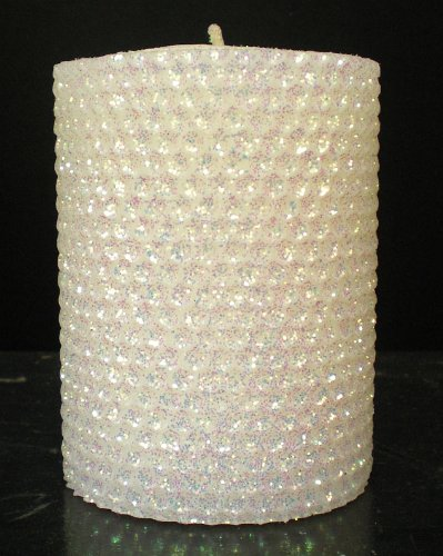 Gold Rush 50 Hour-4 Hour Natural Beeswax Hybrid Pillar Glitter Candle, White Lotus Color