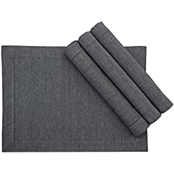 Linen Clubs 4Pack Heavy Cotton Chambray Placemats -Hemstitched 13x19 Navy White