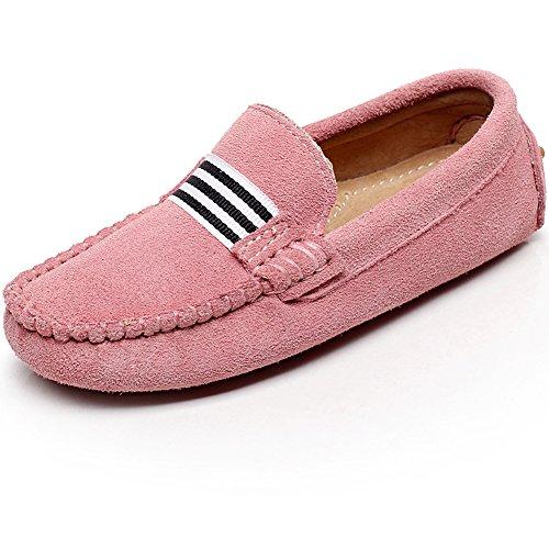 Shenn Boys Girls Fashion Strap Slip-on Pink Suede Leather Loafer Flats 799 US1.5