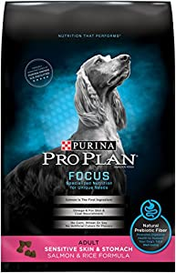 Purina Pro Plan Dry Dog Food, Focus, Adult Sensitive Skin & Stomach Salmon & Rice Formula, 30-Pound Bag, Pack of 1