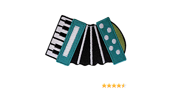 Accordion Patch Iron Sew On Musical Instrument Embroidered Badge Keyboard Music