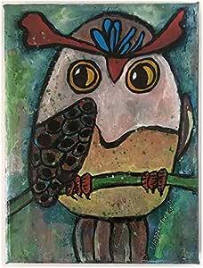 Amazon.com: Original Owl Painting on Canvas Small