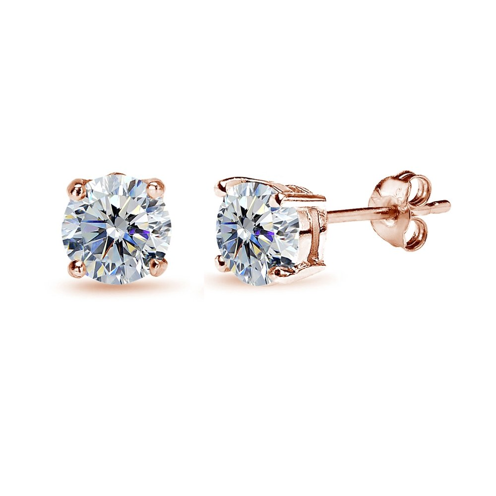 Rose Gold Flashed Sterling Silver 6mm Clear Round Solitaire Stud Earrings Made with Swarovski Crystals