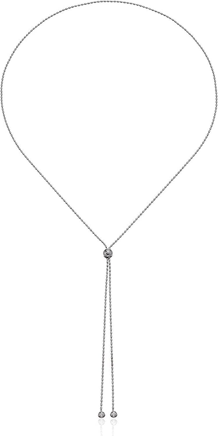 """Rhodium Plated 925 Sterling Silver Adjustable Long Bolo Necklace With 26"""" Bead Chain"""