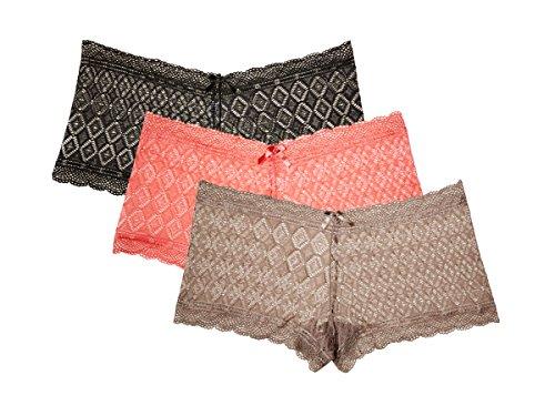Kathy Ireland Women's 3 Pack Lace Hipster Boyshort Panties Smokey Topaz, Coral, Black Medium (Set Sheer Boyshort)
