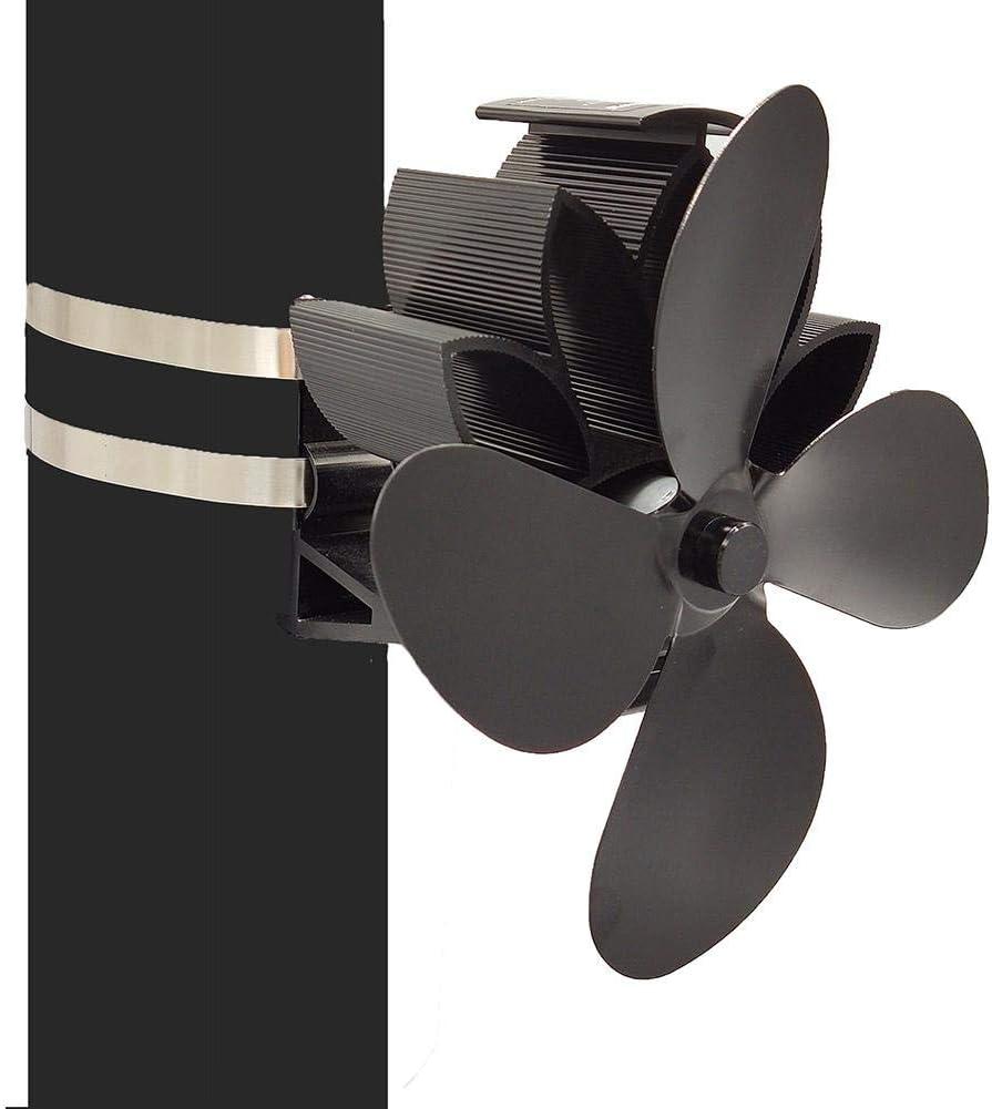 Ventilador de Chimenea de Pared de 4 Palas, Ventilador de Estufa Alimentado por Calor Ventilador de leña Ventilador de calefacción ecológico y eficiente Apto para Tubo de 6 Pulgadas