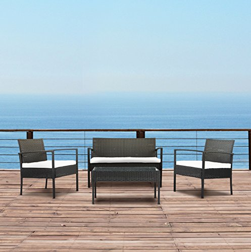 Modern Outdoor Garden, Patio 4 Piece Set – Wicker Sofa Furniture Set (Black/Ivory)