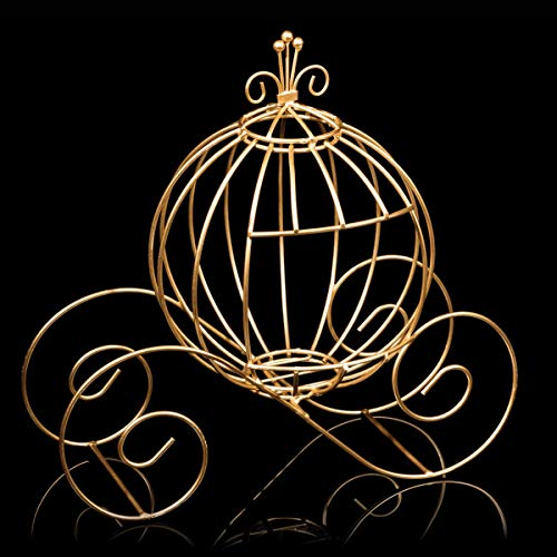 Gold Wire Cinderella Coach Centerpiece, 12 Inches High, Fairy Tale Decor, Wedding Table Centerpiece -