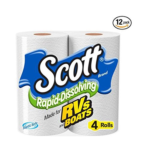Scott Rapid-Dissolving Toilet Paper, 4 Rolls, Bath Tissue  (Pack of 12) (Paper Toilet Clogs)