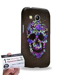 Case88 [Samsung Galaxy Ace 4 LTE G357] 3D impresa Carcasa/Funda dura para & Tarjeta de garantía - Art Blooming Skulls Purple
